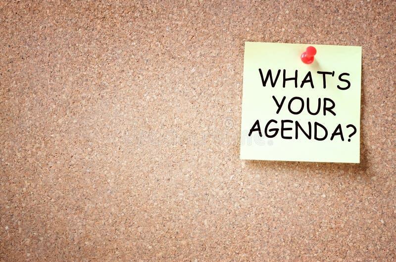 Kleverige nota met de uitdrukking wat uw agenda is Zaal voor tekst royalty-vrije stock foto