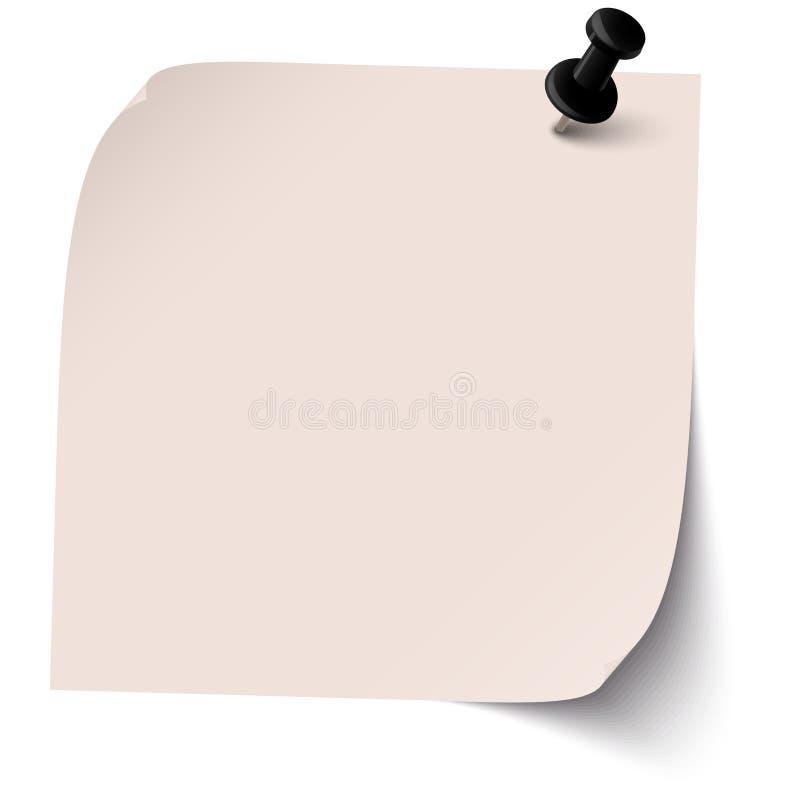 Kleverige nota met speldnaald vector illustratie