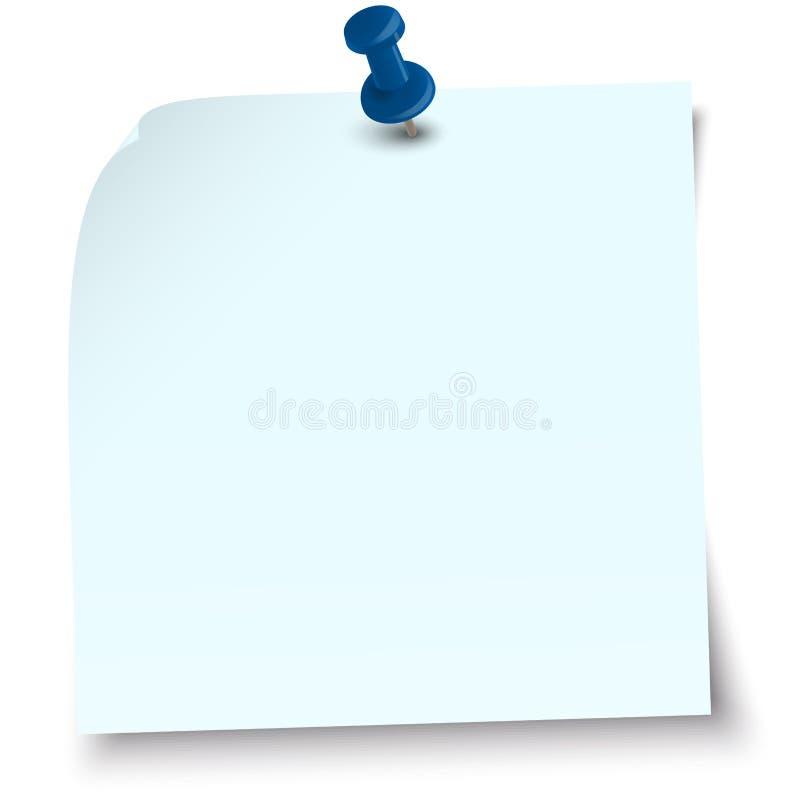 Kleverige nota met speldnaald stock illustratie