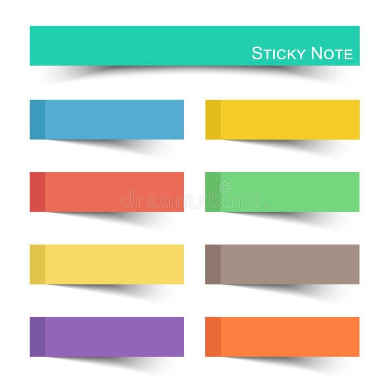 Kleverige nota met vlakke kleur Vector vector illustratie