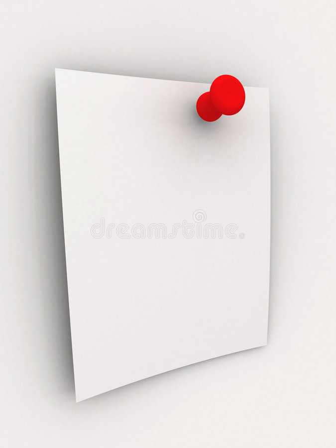 Kleverige Nota - Rode Speld royalty-vrije illustratie