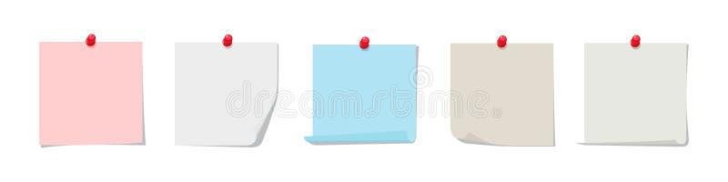 Kleverige nota's vectorinzameling Kleurrijk kleverig document met rode die speld op witte achtergrond wordt geïsoleerd stock illustratie