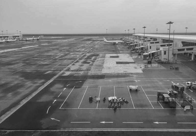 KLIA机场跑道的看法在吉隆坡,菲律宾 库存照片