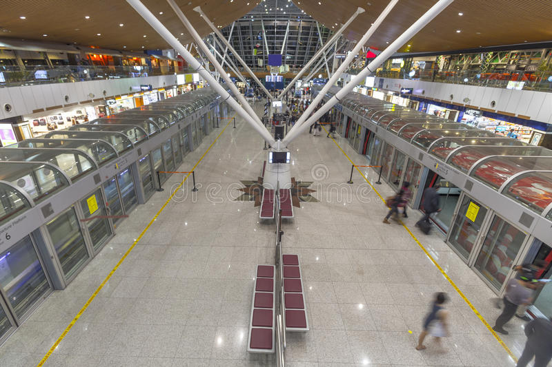 KLIA Airport shuttle station and Free Taxes Shops royalty free stock photography