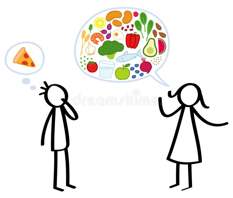 Klibba diagramet kvinnlig näringsfysiolog med anförandeballongen som fylls med sunda foods, manbegärpizza som utbildar ungen stock illustrationer