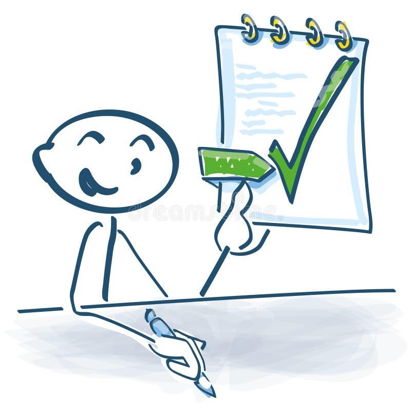 Klibba diagramet och undertecknade arbetsavtalet stock illustrationer