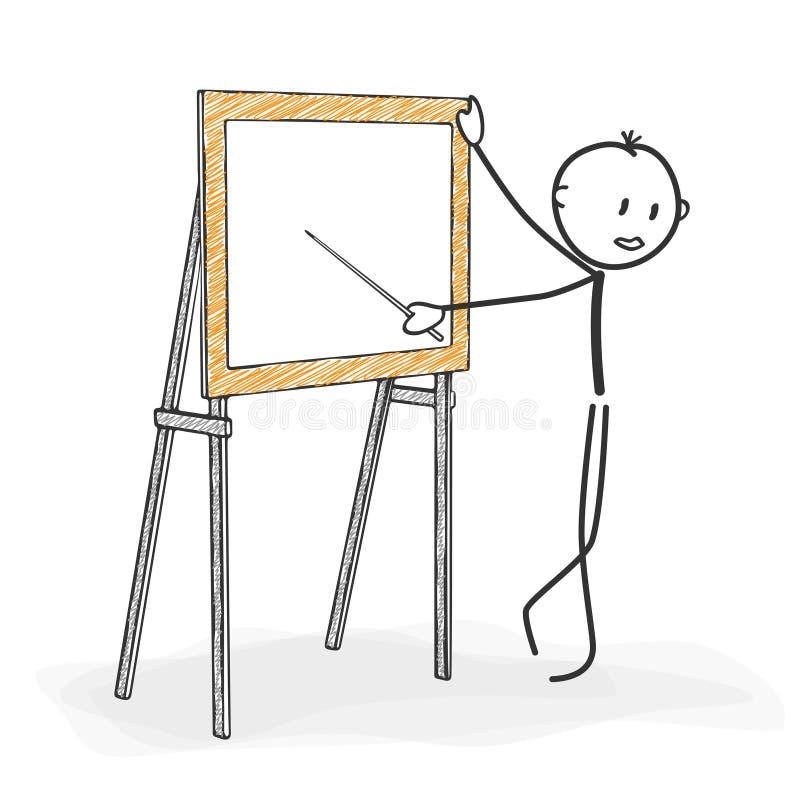 Klibba diagramet tecknade filmen - Stickman, medan undervisa i ett seminarium royaltyfri illustrationer