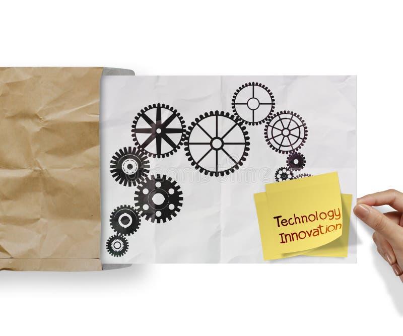 Klibbig anmärkning för teknologiinnovation med kugghjulet till framgångbegreppsnollan royaltyfria bilder