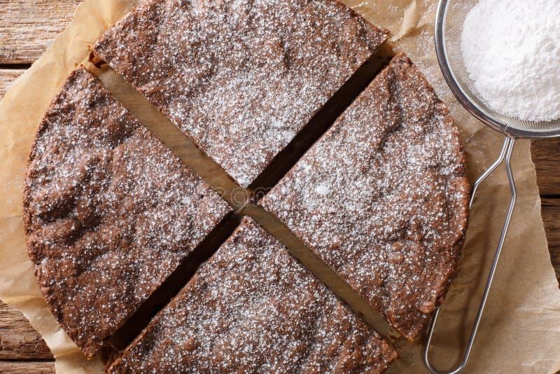 Klibbig kakanärbild för hemlagad svensk choklad på en tabell Hori arkivbilder