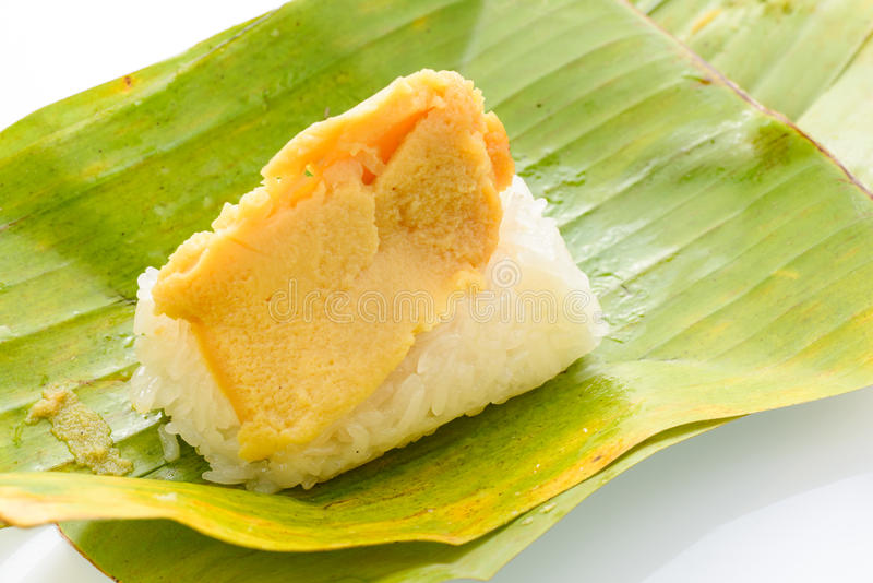 Klibbig rice med ångad custard royaltyfri fotografi