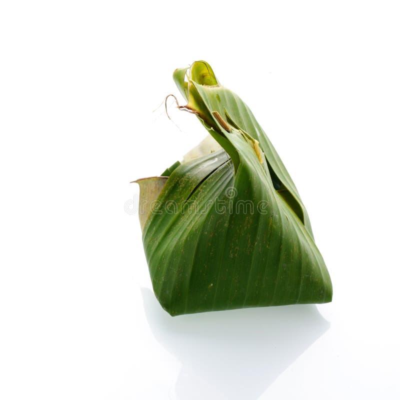 Klibbig rice med ångad custard arkivfoto