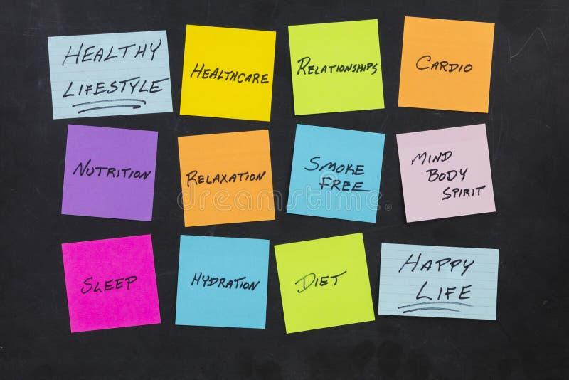 Klibbiga anmärkningar för sund livsstilutbildning arkivbild