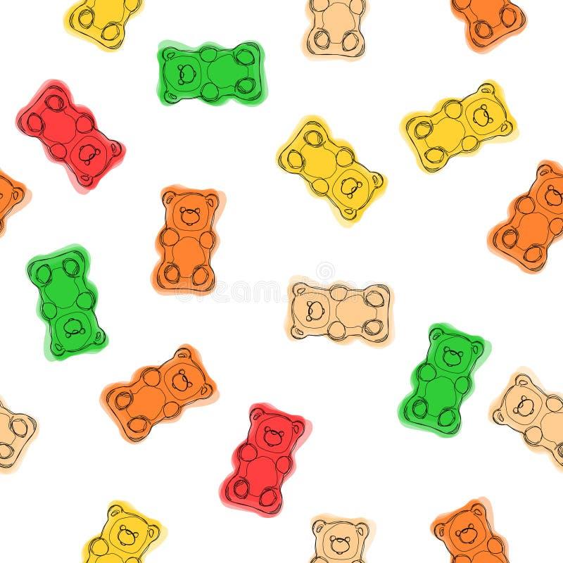 Klibbiga björngodisar räcker den utdragna sömlösa färgrika modellen Klibbig björngodisbakgrund royaltyfri illustrationer
