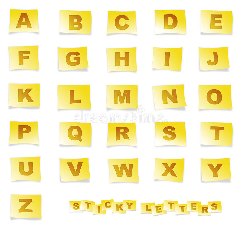 klibbigt alfabet royaltyfri illustrationer