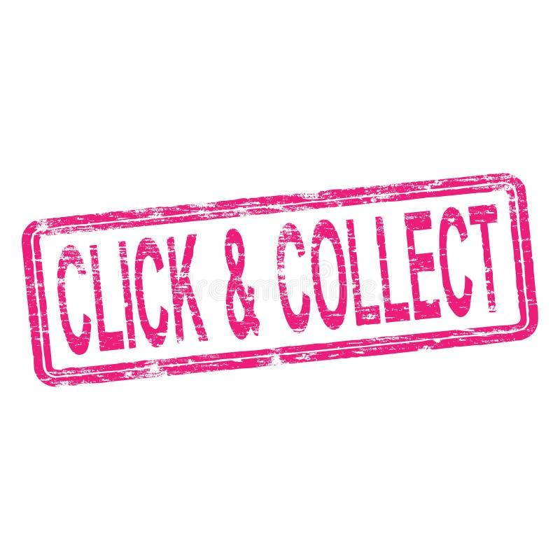 Klick och mot efterkrav Rubber stämpel stock illustrationer