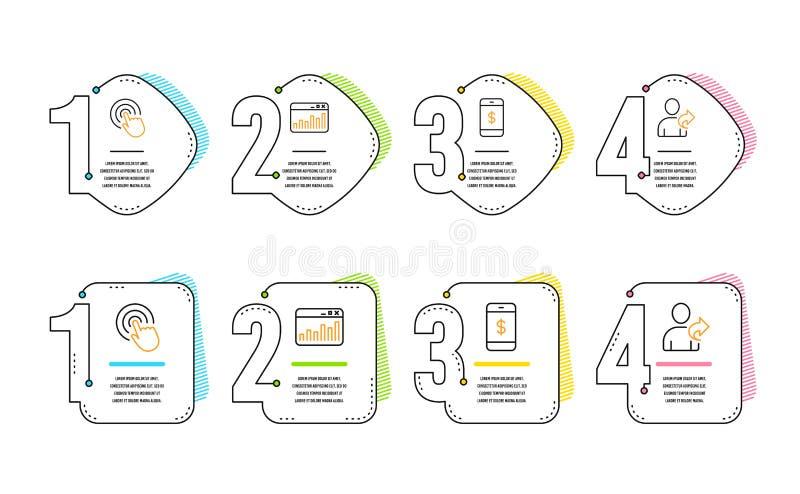 Klick-, Smartphone betalning och marknadsf?ra statistiksymbolsupps?ttningen Se v?ntecknet vektor vektor illustrationer