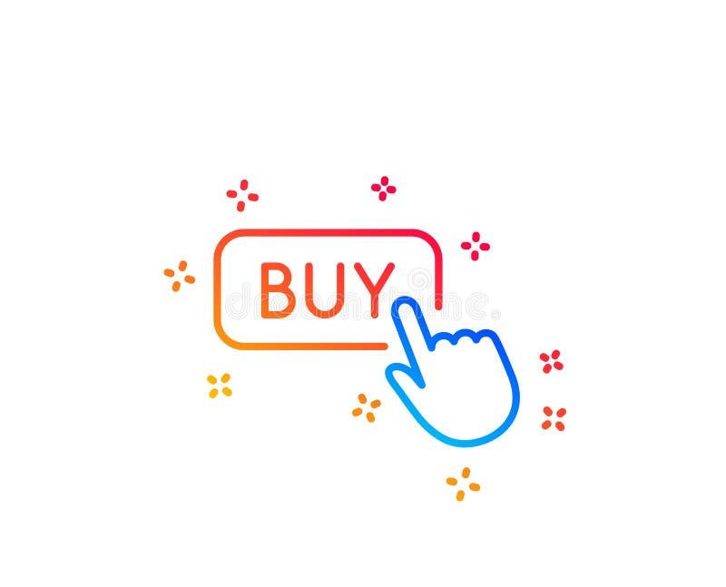 Klick som k?per linjen symbol Online-shoppingtecken vektor stock illustrationer