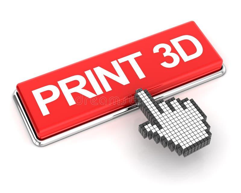 Klicka en knapp för printing 3d royaltyfri illustrationer