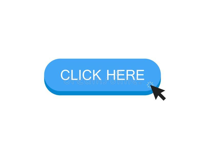 Klicka här knappen med musklickar på ett objekt Modern stil för vektorillustrationlägenhet stock illustrationer