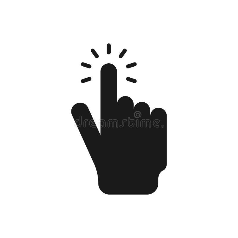 Klicka h?r symbolen f?r knapphandvektorn Enkel illustration f?r modern design royaltyfri illustrationer