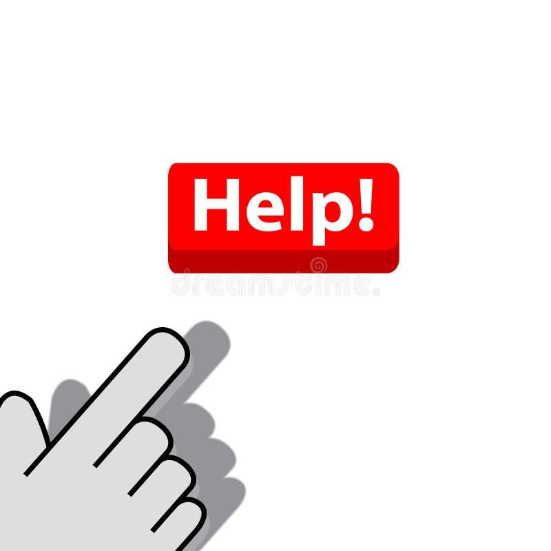 Klicka på knapphjälp royaltyfri illustrationer
