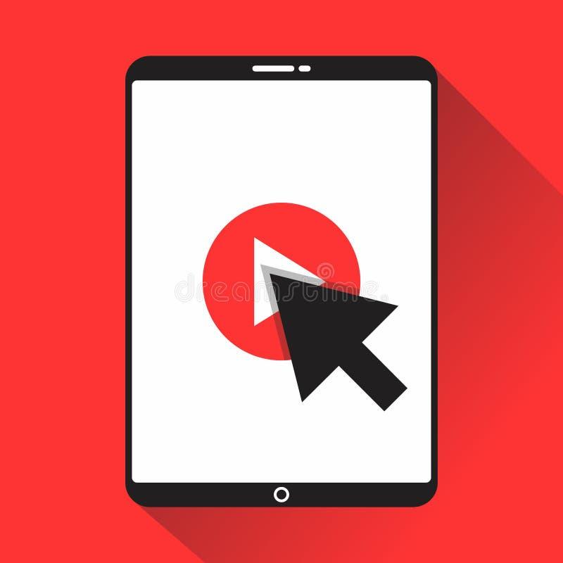 Klicka vektortumnageln för videoen här för öppnande videopp tutorials studie och lärabakgrund royaltyfri illustrationer