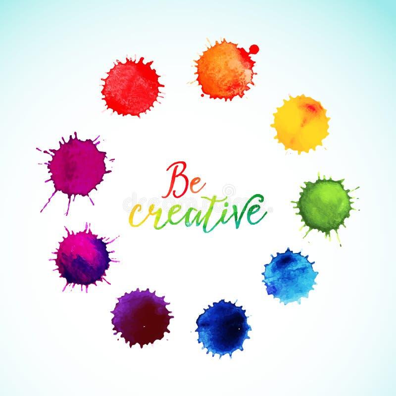 Klickar för vektorregnbågevattenfärg Cirkelram av stock illustrationer