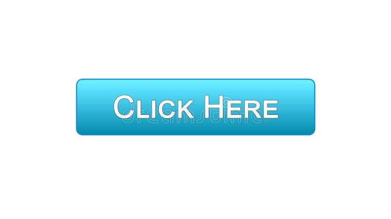 Klicken Sie hier blaue Farbe des Netzschnittstellen-Knopfes, die Grasenwebsite und annoncieren vektor abbildung
