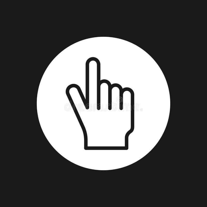 Klicken Sie hier die Knopfhandvektorikonenlinie Kunst Einfache Illustration des modernen Entwurfs vektor abbildung