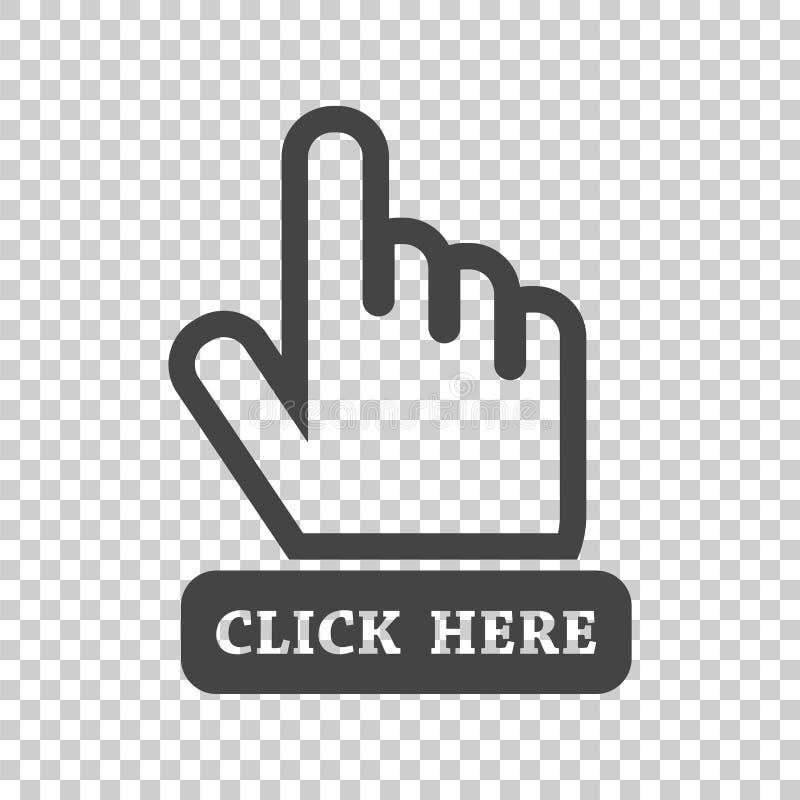 Klicken Sie hier Ikone Hand-Cursor-Zeichen Flacher Vektorkranke des schwarzen Knopfes stock abbildung