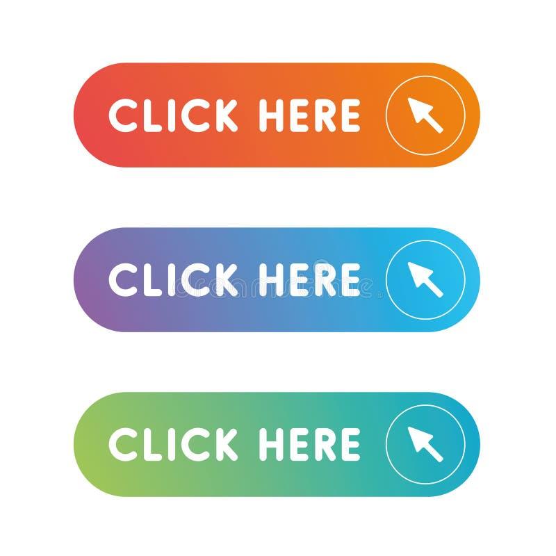 Klicken Sie hier Knopfsatz lizenzfreie abbildung