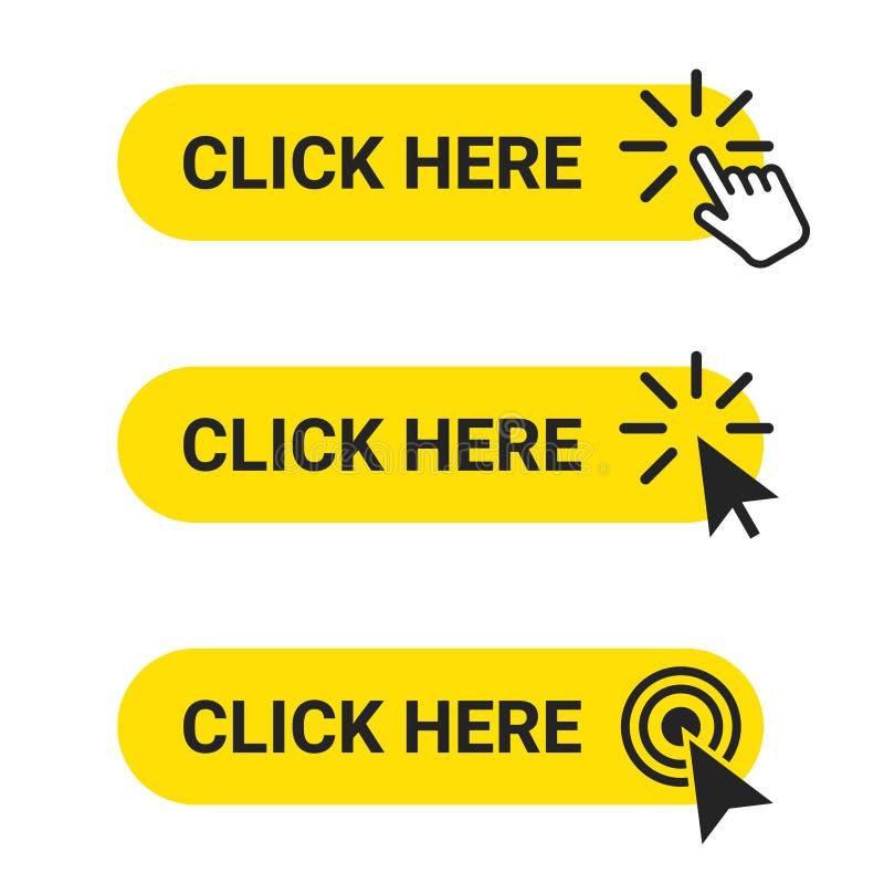 Klicken Sie hier Stellen Sie von den Netzkn?pfen mit Aktion des Mauscursor- und Handzeigers ein Klicken Sie hier, UI-Knopfkonzept vektor abbildung