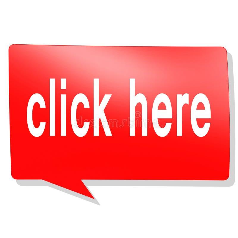 Klicken Sie hier Wort auf rote Spracheblase stock abbildung
