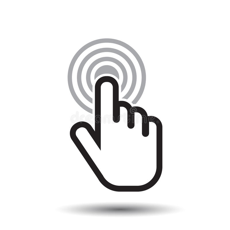 Klickhandsymbol Vektor för lägenhet för markörfingertecken