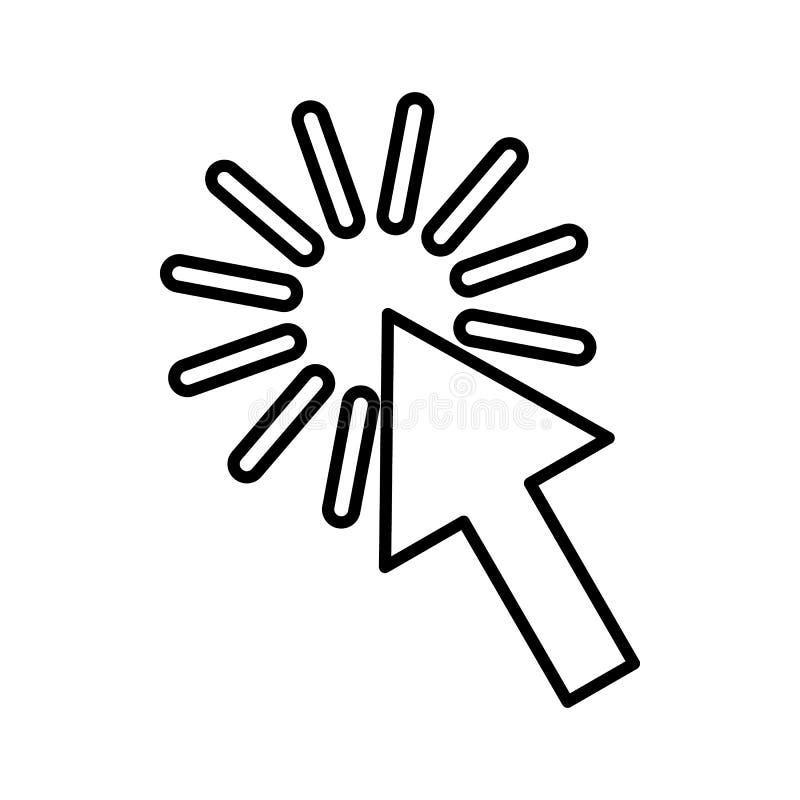 Klicksymbol, översiktsstil stock illustrationer