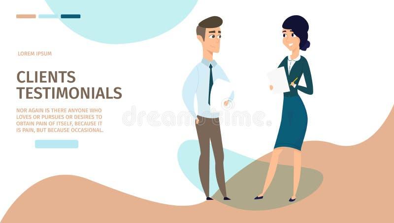 Klientów Testimonials kreskówki sieci Wektorowy sztandar royalty ilustracja