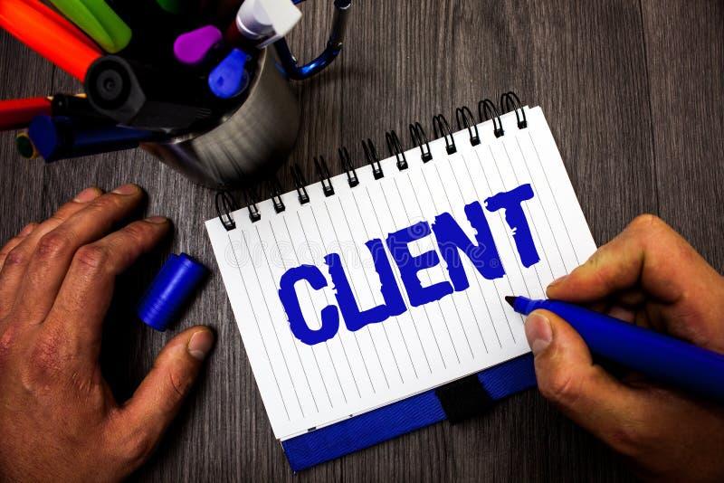 Klient för handskrifttexthandstil För köparekund för begrepp menande håll för man för köpare för aktieägare för Sharer för utsikt arkivbild