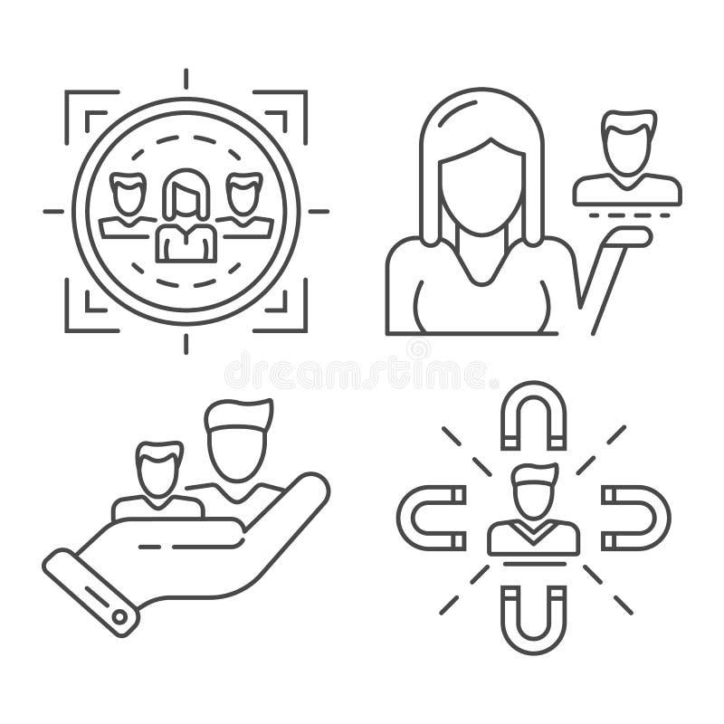 Klient ikony retencyjny set, konturu styl royalty ilustracja