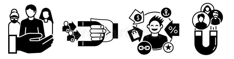Klient ikony retencyjny set, prosty styl ilustracja wektor