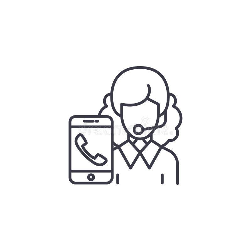 Klient ikony usługowy liniowy pojęcie Klient usługowej linii wektoru znak, symbol, ilustracja royalty ilustracja