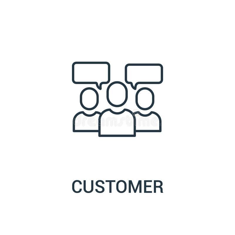 klient ikony wektor od reklam inkasowych Cienka kreskowa klienta konturu ikony wektoru ilustracja Liniowy symbol dla używa na sie ilustracja wektor