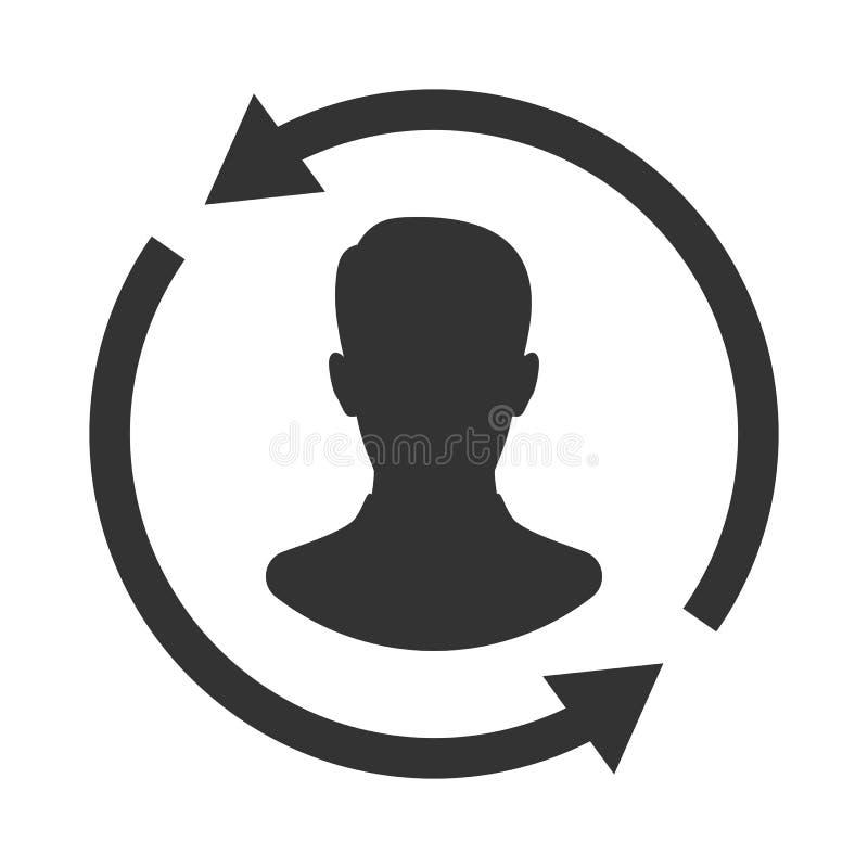 Klient interakci ikona Klienta oddawanie lub renention symbol royalty ilustracja