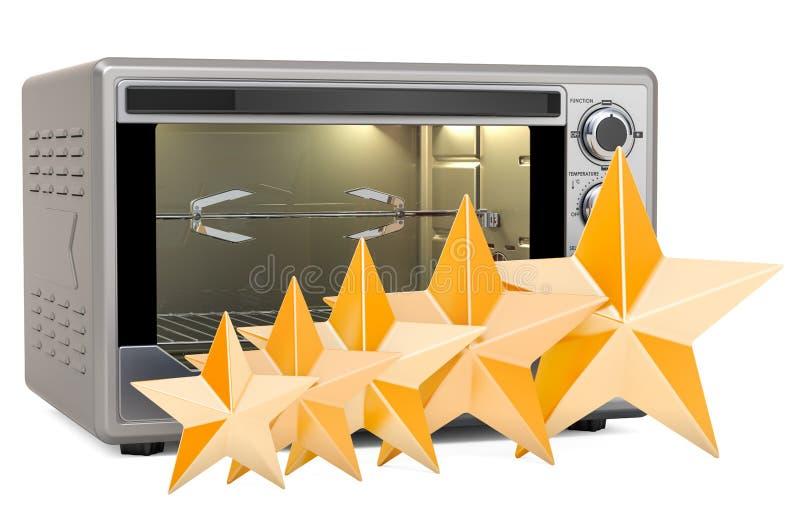Klient ocena konwekcja opiekacza piekarnik z Rotisserie i grillem, 3D rendering royalty ilustracja