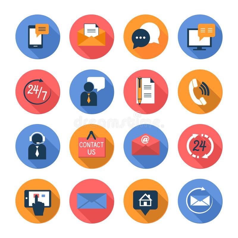Klient opieka kontaktuje się płaskie ikony ustawiać ilustracji