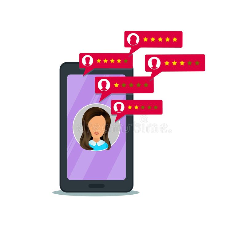 Klient przegl?dowa ocena na telefonie kom?rkowym 5 gwiazdowy system oceny, bąbel mowa z użytkowników profilami ilustracji
