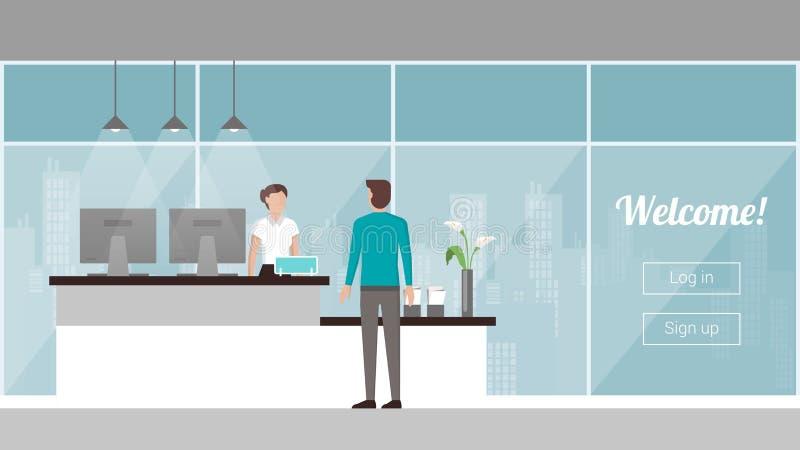 Klient przy przyjęciem ilustracja wektor
