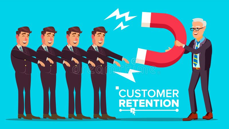 Klient retenci wektor Biznesmen Z Gigantycznym magnesem Przyciąga klienta mężczyzna Sukces strategia, klienta przyciąganie ilustracja wektor