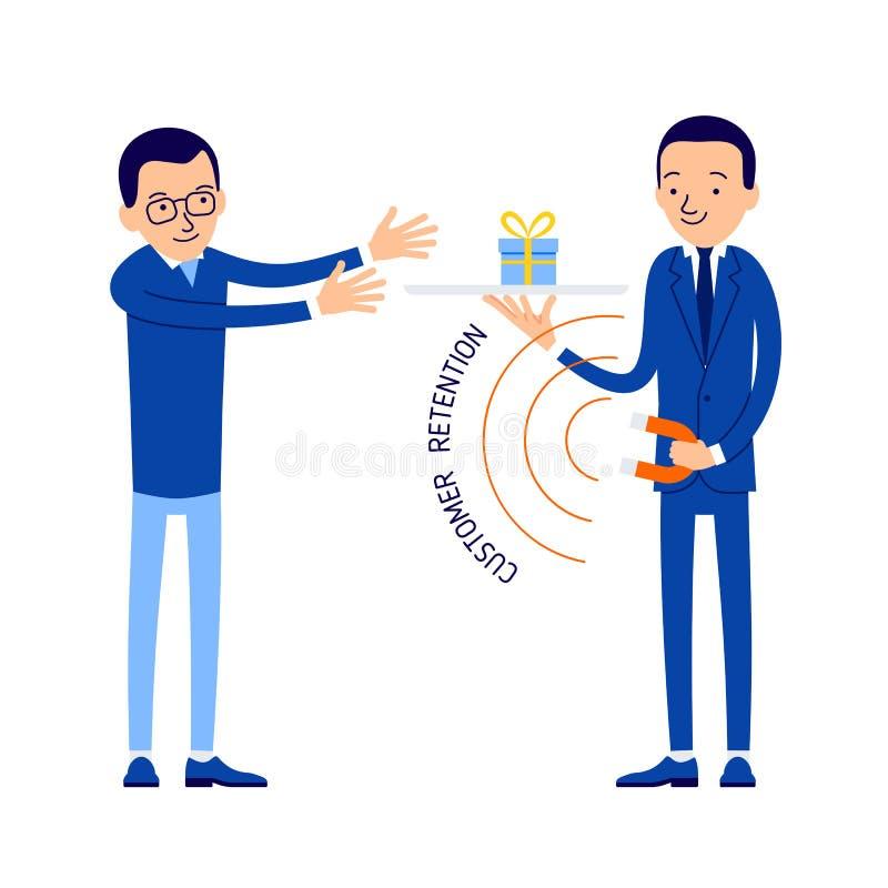 Klient retencja Kierownik utrzymuje klient uwagę Tak jakby magn royalty ilustracja