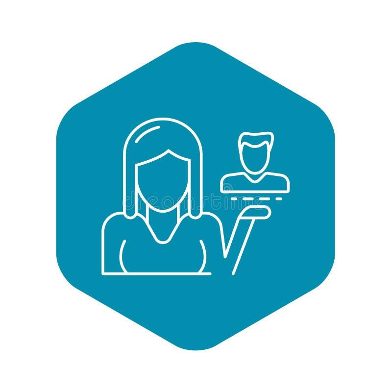 Klient retencyjna ikona, konturu styl ilustracji
