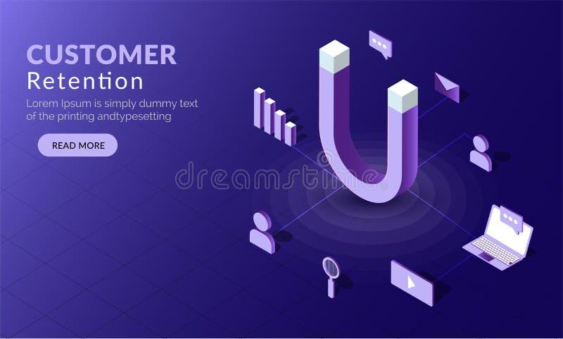 Klient sieci szablonu Retencyjny pojęcie opierający się projekt, 3D magnes royalty ilustracja